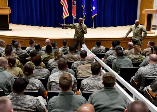 Air University Command Chief, Chief Master Sgt. Todd M. Simmons, right, and U.S. Air Force Lt. Gen. Anthony Cotton, AU commander and president, speak with more than 100 Airmen enrolled in Airman Leadership School Class 19-4, February 11, 2019, at the Air National Guard's training and education center in East Tennessee. Additionally, the leaders spoke with students enrolled in Noncommissioned Officer Academy. Both classes graduate tomorrow.