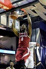 Feb 9, 2019; Nashville, TN, USA; Alabama Crimson Tide forward Donta Hall (0) dunks the ball against the Vanderbilt Commodores during the first half at Memorial Gymnasium. Mandatory Credit: Jim Brown-USA TODAY Sports