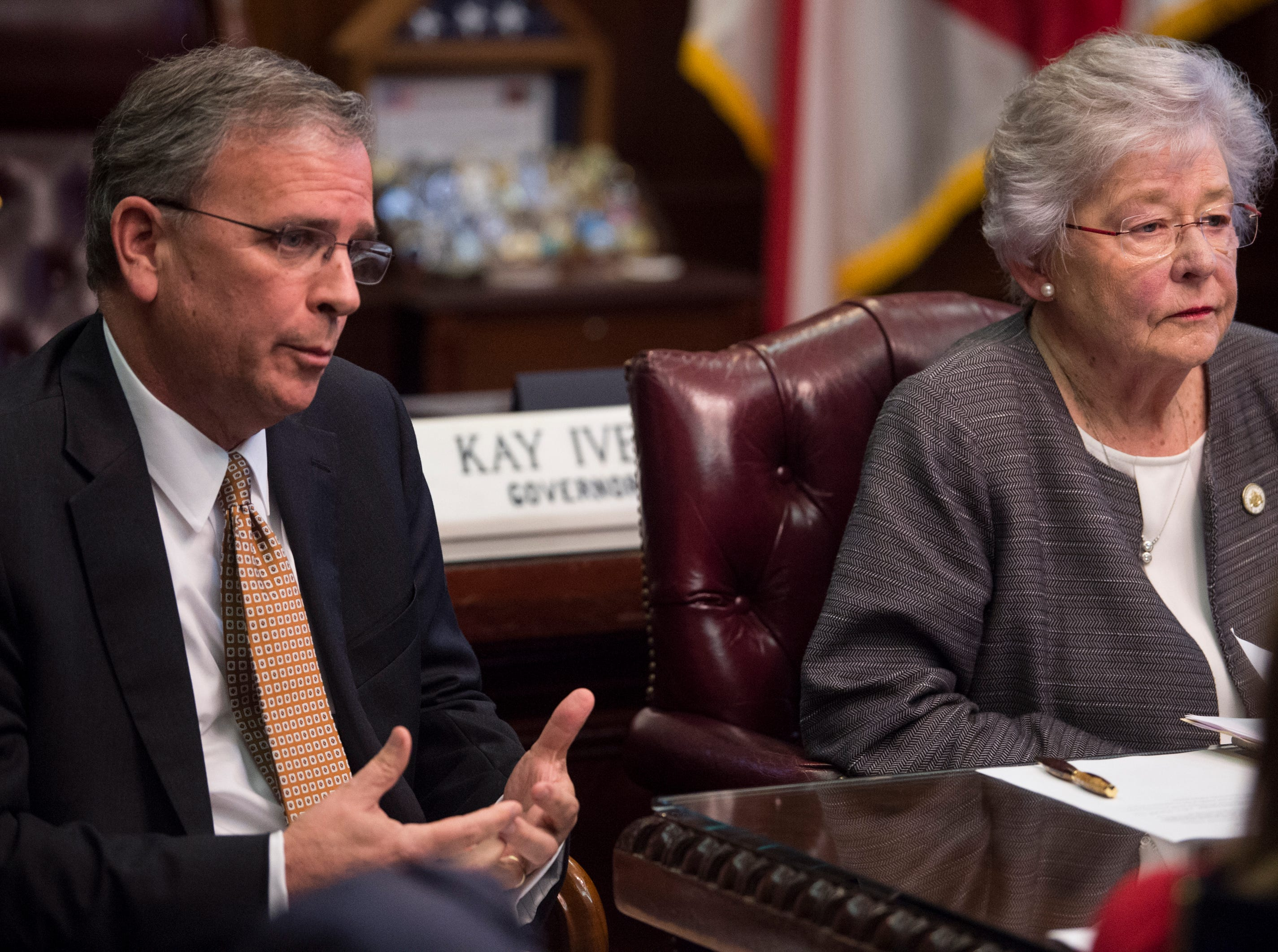 Mike Lanier, president of HPM leadership, speaks with Gov. Kay Ivey during a press conference in the Governor's office at the Alabama State Capitol in Montgomery, Ala., on Tuesday, Feb. 12, 2019.