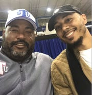 Mookie Betts, right, attended a Tennessee State basketball game at Gentry Center early in the season and had a selfie made with Tigers football coach Rod Reed.