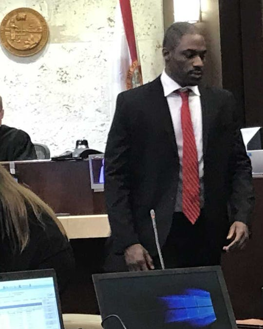 Kiereek Seymour, 28 of East Naples, walks to his seat inside the Collier County Courthouse on Feb. 12, 2019.