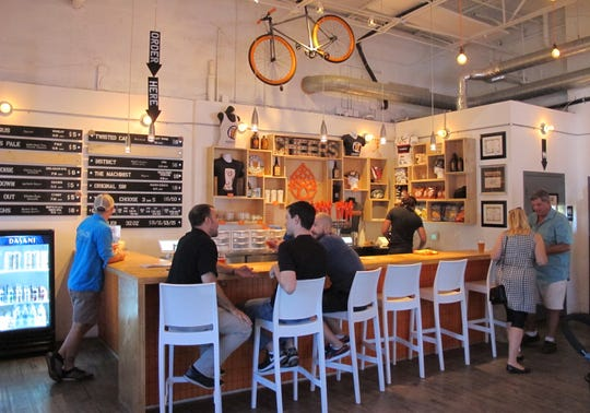 Part of the tasting room at Momentum Brewhouse on Bonita Beach Road in Bonita Springs.