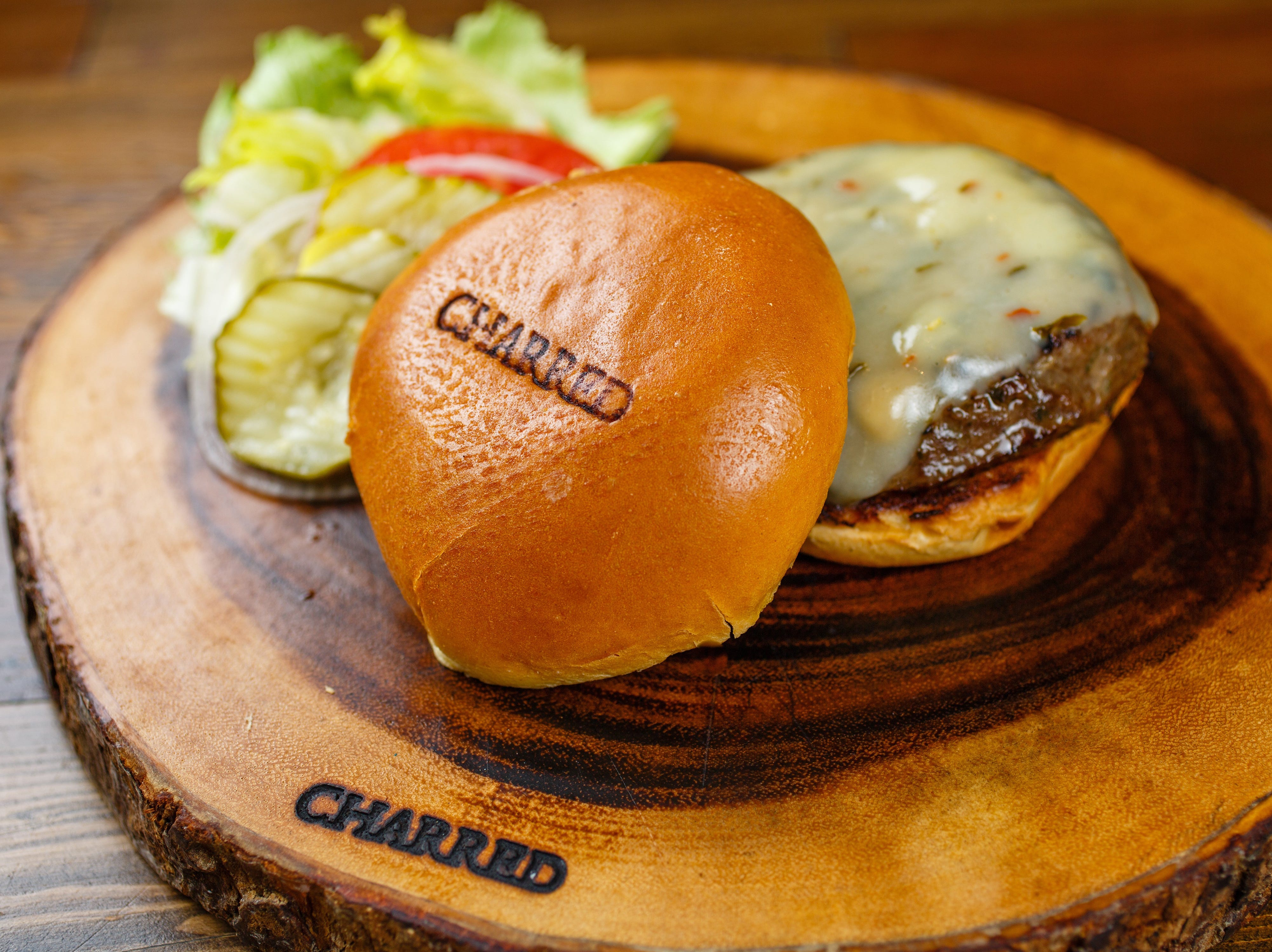 Wagyu Jalapeno Burger for lunch at Jimmy P's Charred.