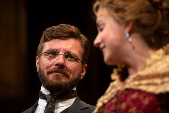 """William Connell and Hanley Smith star in the Gulfshore Playhouse's production of """"In the Next Room or the Vibrator Play"""" during a dress rehearsal, Tuesday, Feb. 12, 2019 at the Norris Center in Naples. Tuesday, Feb. 12, 2019 at the Norris Center in Naples."""