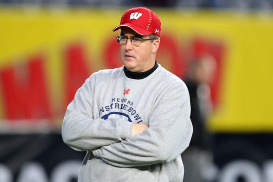 Wisconsin Badgers head coach Paul Chryst looks on prior to the game against the Miami Hurricanes in the 2018 Pinstripe Bowl at Yankee Stadium on Dec. 27, 2018.