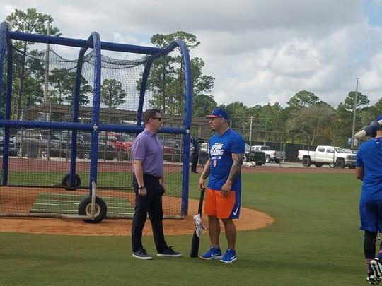 Mets GM Brodie Van Wagenen (l.) and catcher Wilson Ramos (r.)