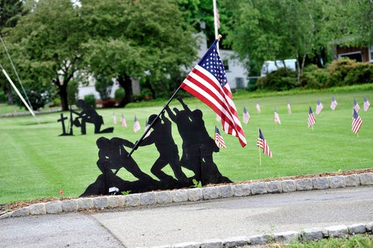 A display sits on the front lawn of a home located across from the VFW Post 6765 on Memorial Day 2016, when Wanaque's parade was cancelled due to weather.