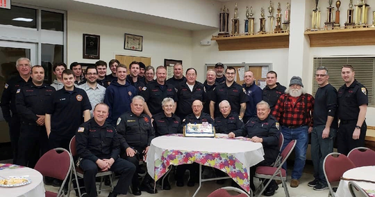 Franklin Lakes Fire Department members gather to wish their oldest member, Jack Willer, a happy 98th birthday.
