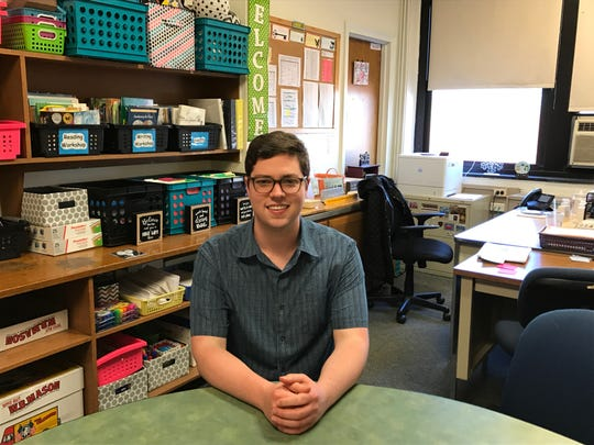 Caleb Herbst, 20, who has been on the River Edge school board since he was 18, is serving as school board president this year.