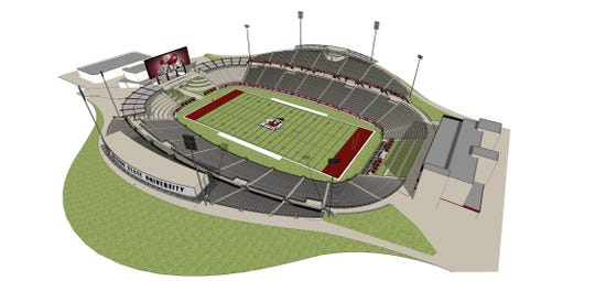A rendering of potential facility improvements at Aggie Memorial Stadium as part of NM State's athletic master plan.