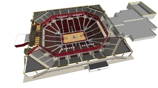 A rendering of potential facility improvements at the Pan American Center as part of the NM State athletics master plan.