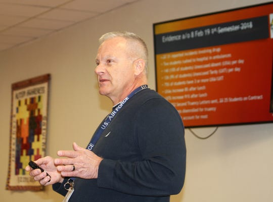Alamogordo High School Principal Ken Moore gives an update on the process of making AHS a secure campus at the Alamogordo Public Schools Board of Education work session Saturday, Feb. 9.