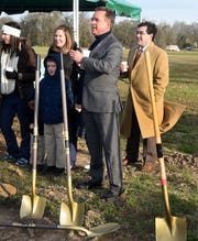 St. Landry Economic District Director Bill Rodier at a recent groundbreaking for the Lily Pad Pediatric Clinic located at the Harry Guilbeau Road extension on Interstate 49. The clinic is operated by three female physicians who have returned to the Opelousas area.