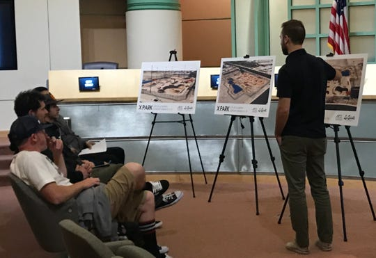 Spohn Ranch skatepark designer and developer Vincent Onel of Spohn Ranch goes over some of the features of the XPark planned in La Quinta during a workshop on Monday, Feb. 11, 2019, at City Hall.