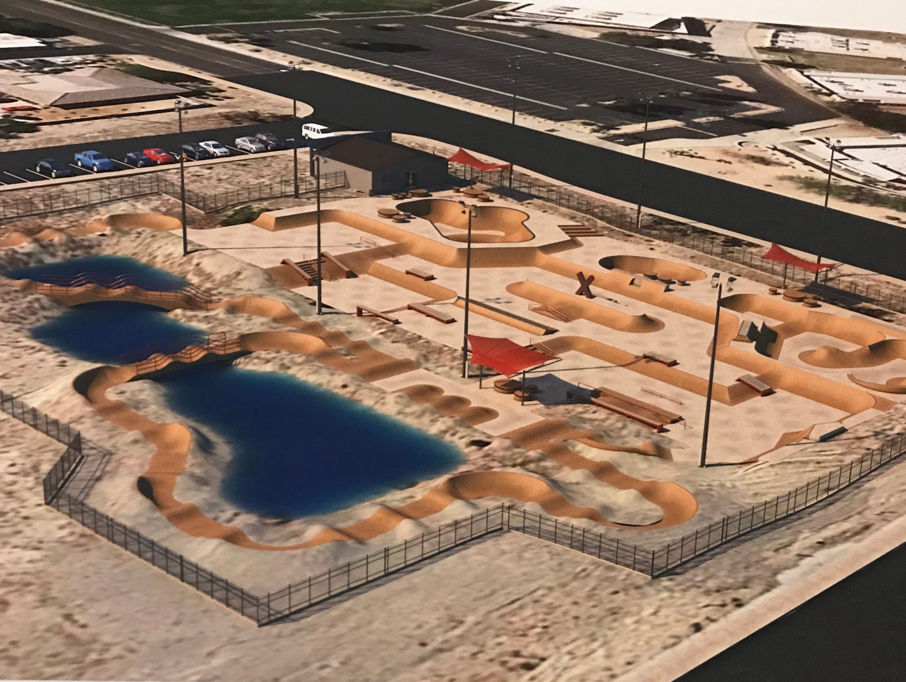 A rendering of the planned XPark in La Quinta, on the southeast corner of Blackhawk Way and Dune Palms Road. The 32,000-square-foot competition level facility would be the Coachella Valley's largest skate park, officials say.