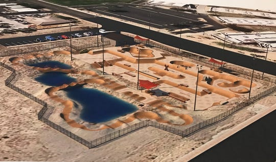 A rendering of the planned XPark in La Quinta, on the southeast corner of Blackhawk Way and Dune Palms Road. The 32,000-square-foot competition-level facility would be the Coachella Valley's largest skate park, officials say.