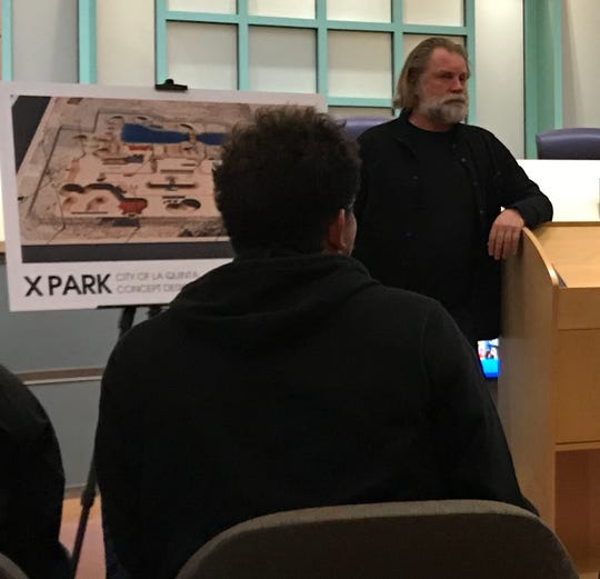 Spohn Ranch founder and president, Aaron Spohn, goes over the design plans for La Quinta's new XPark during a workshop on Monday, Feb. 11, 2019, at City Hall.