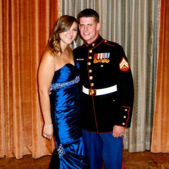 Craig Maddy, pictured prior to the shooting with Deanna Daglas, died last week in the Seattle area. As a Marine based in Twentynine Palms, he was shot in Desert Hot Springs in 2012. His shooters have not been identified.