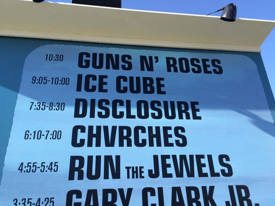 The main stage schedule from Saturday of the 2016 Coachella Valley Music and Arts Festival shows the diversity of music available for fans.