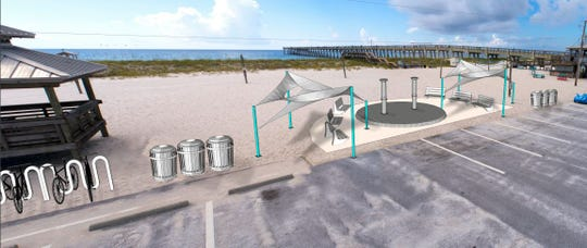 An artist's rendering depicts what the parking lot area of the Navarre Beach Fishing Pier will look like once the county spends about $100,000 on an improvement project there.