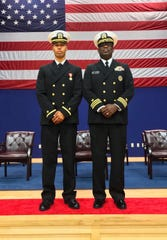 Ensign Marquay Byrd, left, poses with Cmdr. Robert Clements during his graduation from United States Navy's Officer Candidate School in Newport, Rhode Island.  (Photo courtesy of Marquay Byrd)
