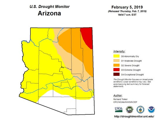 Feb. 5, 2019 U.S. Drought Monitor map showing drought conditions in Arizona.
