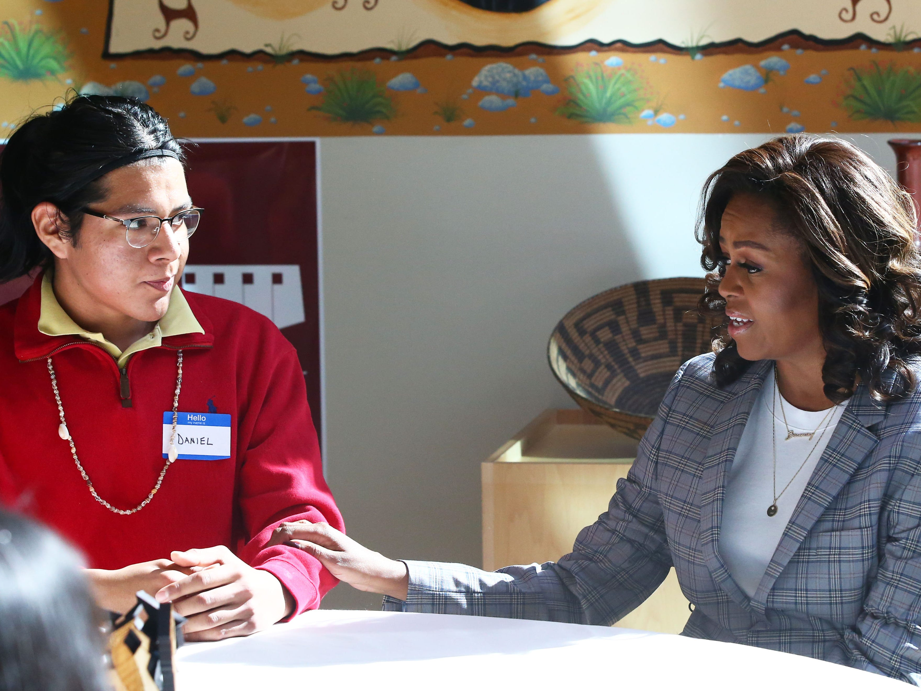 Michelle Obama makes a surprise visit with Gila River Indian Community students at the Huhugam Heritage Center on Feb. 12, 2019 in Chandler.