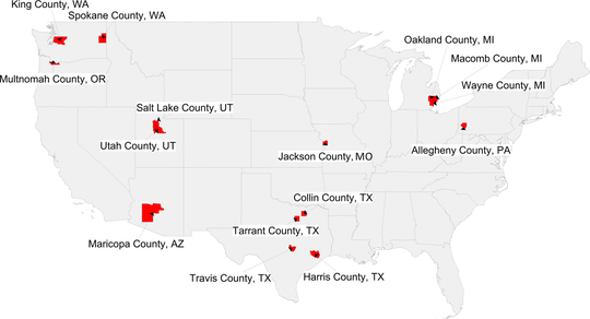 Heat map of counties with >400 kindergarteners with NMEs in 2016 to 2017
