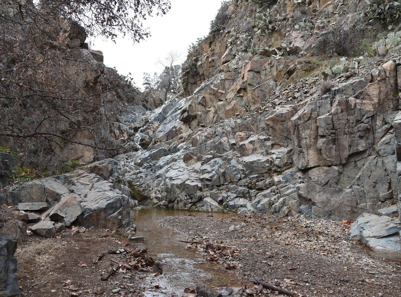 Copper Falls cascade over stony shelves.
