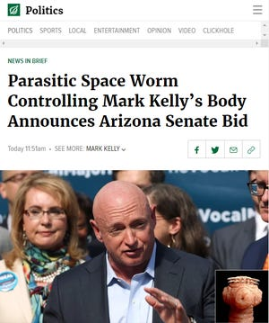 'The Onion' satirized Mark Kelly's bid for an Arizona U.S. Senate seat, Feb. 12, 2019.