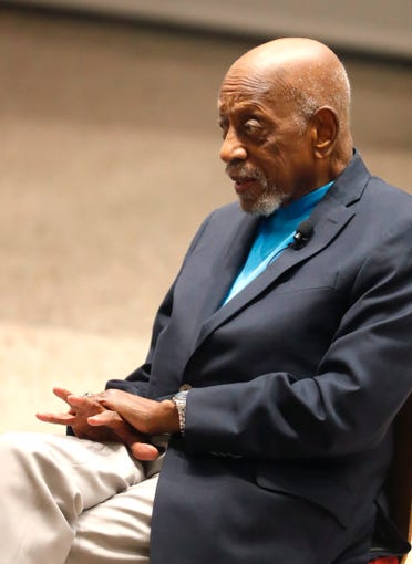 Harrison Dillard, oldest living American gold medalist, speaks during a documentary screening and discussion of The Renaissance Period of the African American at Beus Center for Law and Society in Phoenix, Ariz. on February 11, 2019.