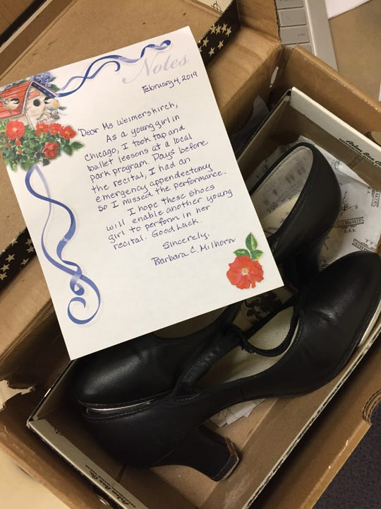 "As a girl, Barbara Milhorn missed her tap recital because of emergency appendectomy. ""I hope these shoes will enable another young girl to perform in her recital,"" she wrote in a note to teacher Lekeisha Weimerskirch at Sunnyslope School."