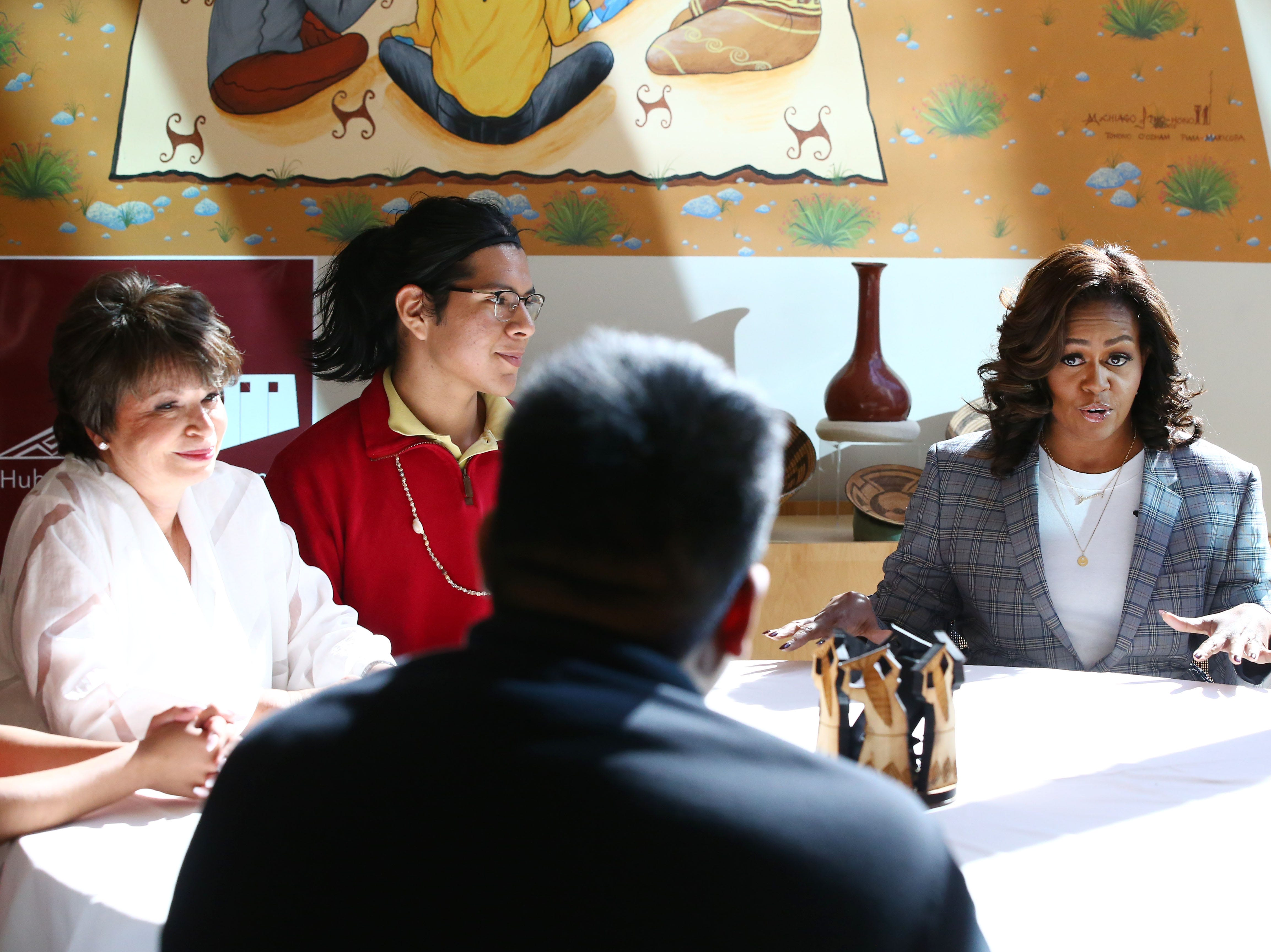 Michelle Obama makes a surprise visit with Gila River Indian Community students at the Huhugam Heritage Center on Feb. 12, 2019 in Chandler. The Huhugam Heritage Center is a museum for Huhugam, Akimel O'otham and Pee Posh treasures from ancestral lands also known by the archaeological name Hohokam.