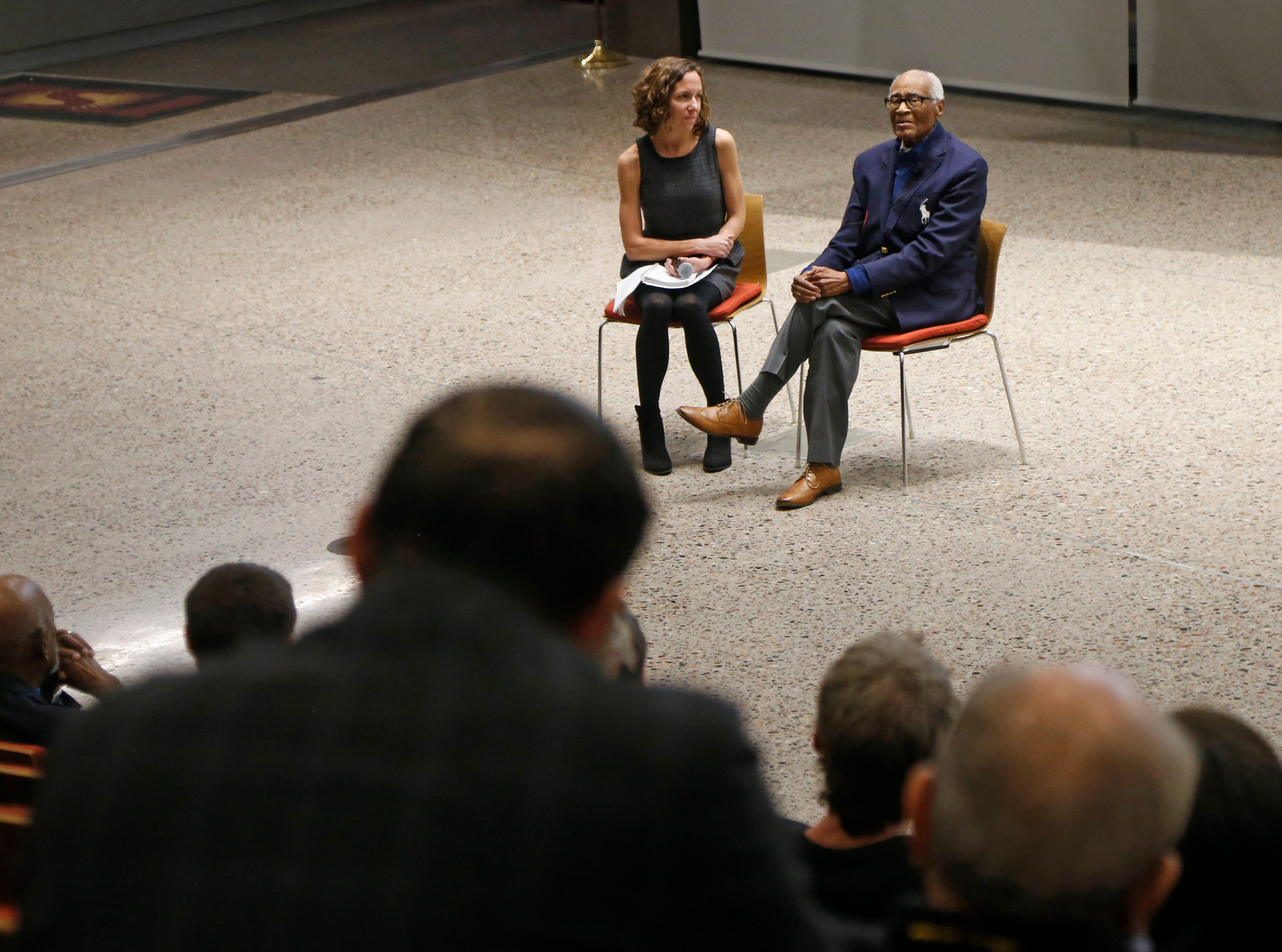 Herbert Douglas, the oldest living African-American medalist, speaks during a documentary screening and discussion of The Renaissance Period of the African American at Beus Center for Law and Society in Phoenix, Ariz. on February 11, 2019.