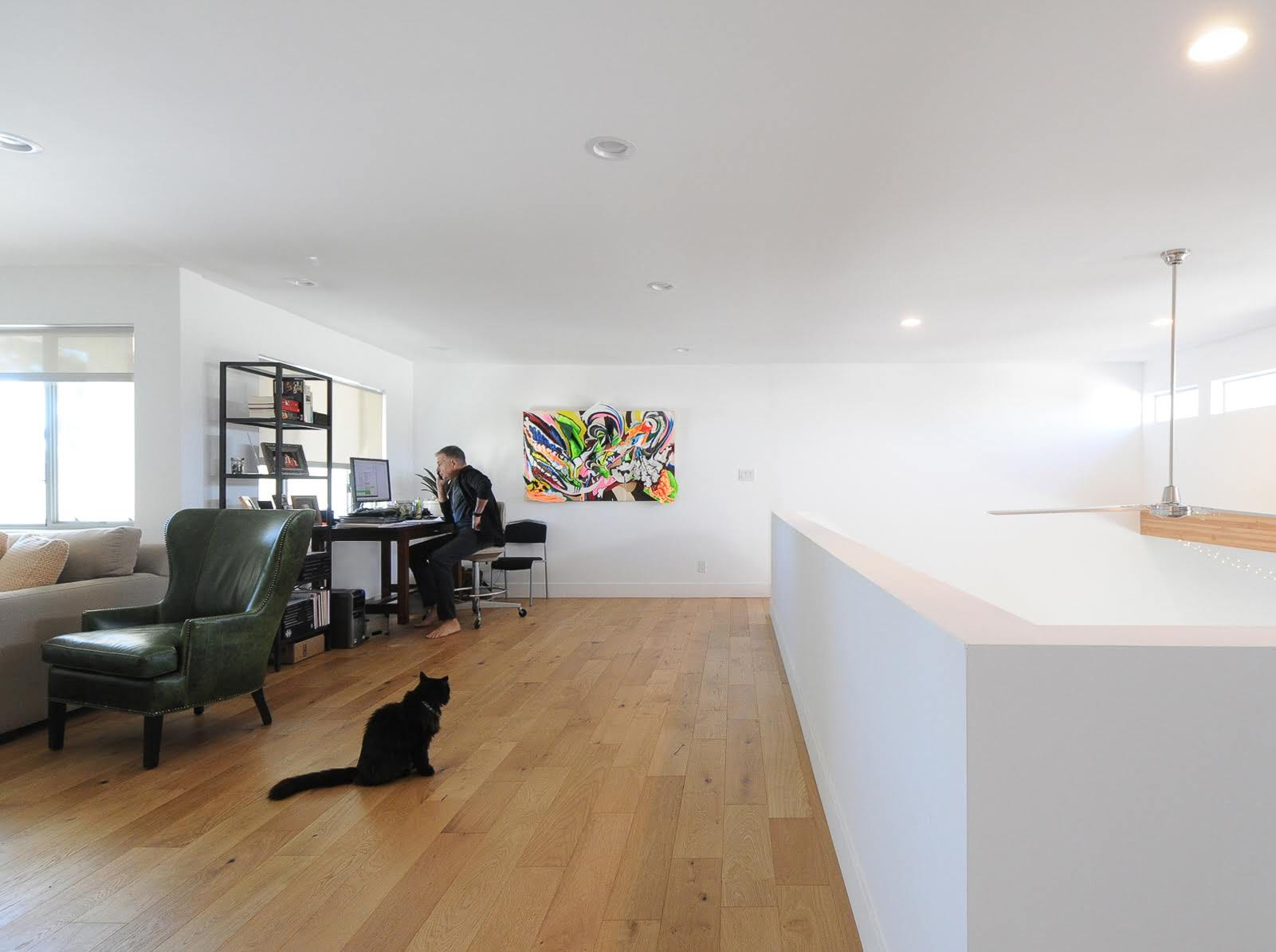 The home's loft area doubles as a home workspace for Kreis.
