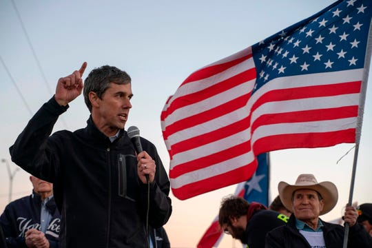 "Former Texas Congressman Beto O'Rourke speaks to a crowd of marchers during the ""March for Truth"" in El Paso, Texas, on February 11, 2019. - The march took place at the same time as US President Donald Trump pushed his politically explosive crusade to wall off the Mexican border at a rally in El Paso. (Photo by Paul Ratje / AFP)        (Photo credit should read PAUL RATJE/AFP/Getty Images)"