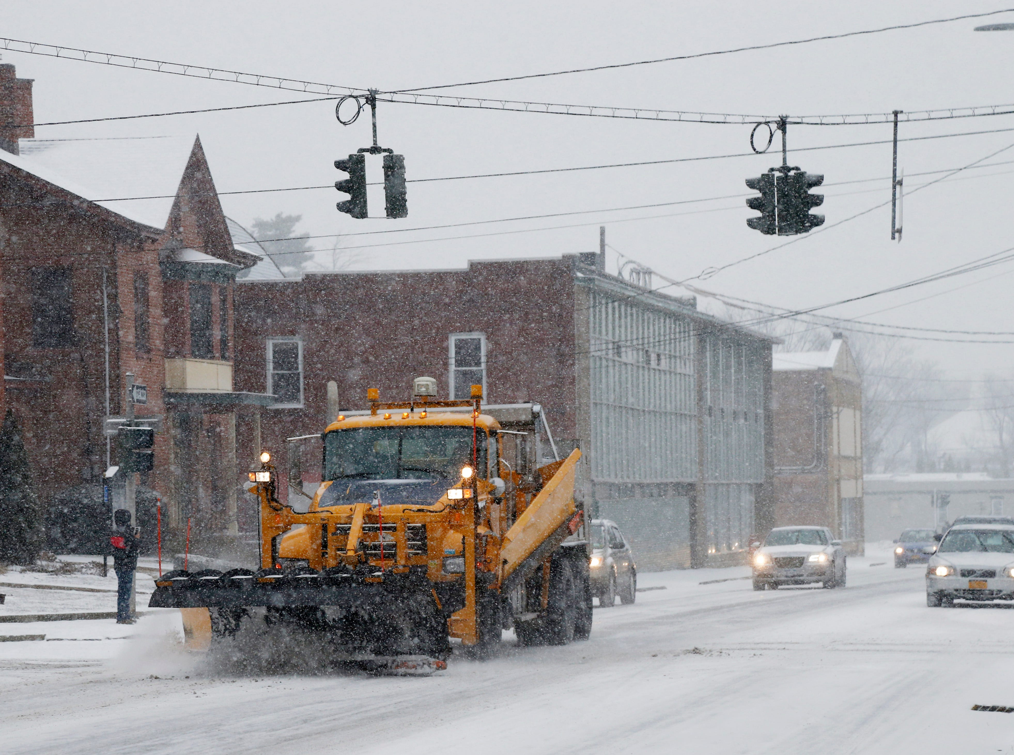 A NYSDOT plow works on the Westbound Arterial in the City of Poughkeepsie on February 12, 2019.