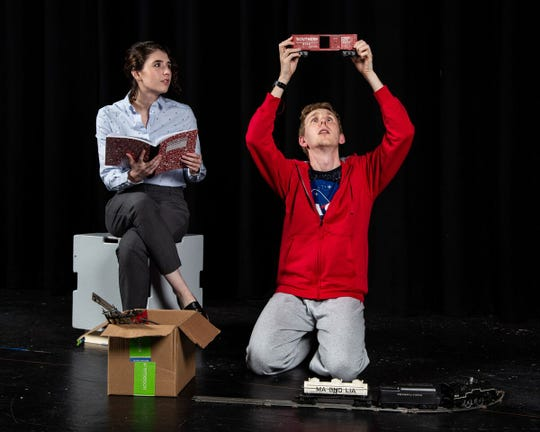"""Emily McCarthy as Siobhan and Michael Wagner as Christopher rehearse a scene from Rhinebeck Theatre Society's   """"The Curious Incident of the Dog in the Night-time,"""" opening Feb. 15."""