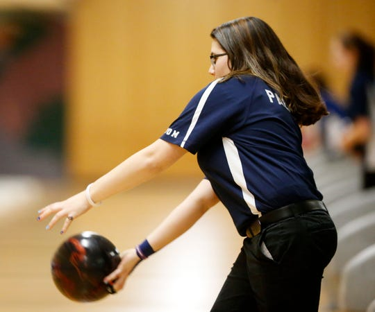 John Jay's Victoria Pacacha during Monday's Section 1 bowling tournament in East Fishkill on February 11, 2019.