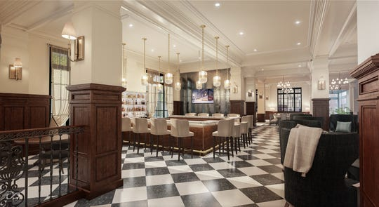 This is a rendering of the bar inside the Yorktowne Hotel, which is expected to open early 2020.