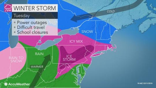 A winter storm is bringing snow and ice to central Pennsylvania.