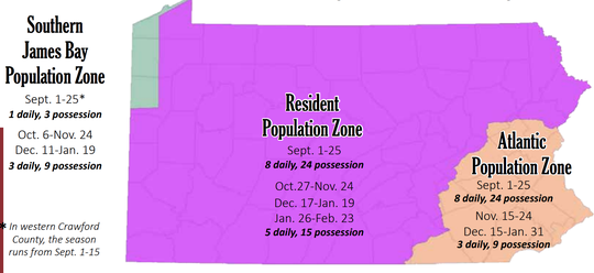 A map of geese zones in Pennsylvania.
