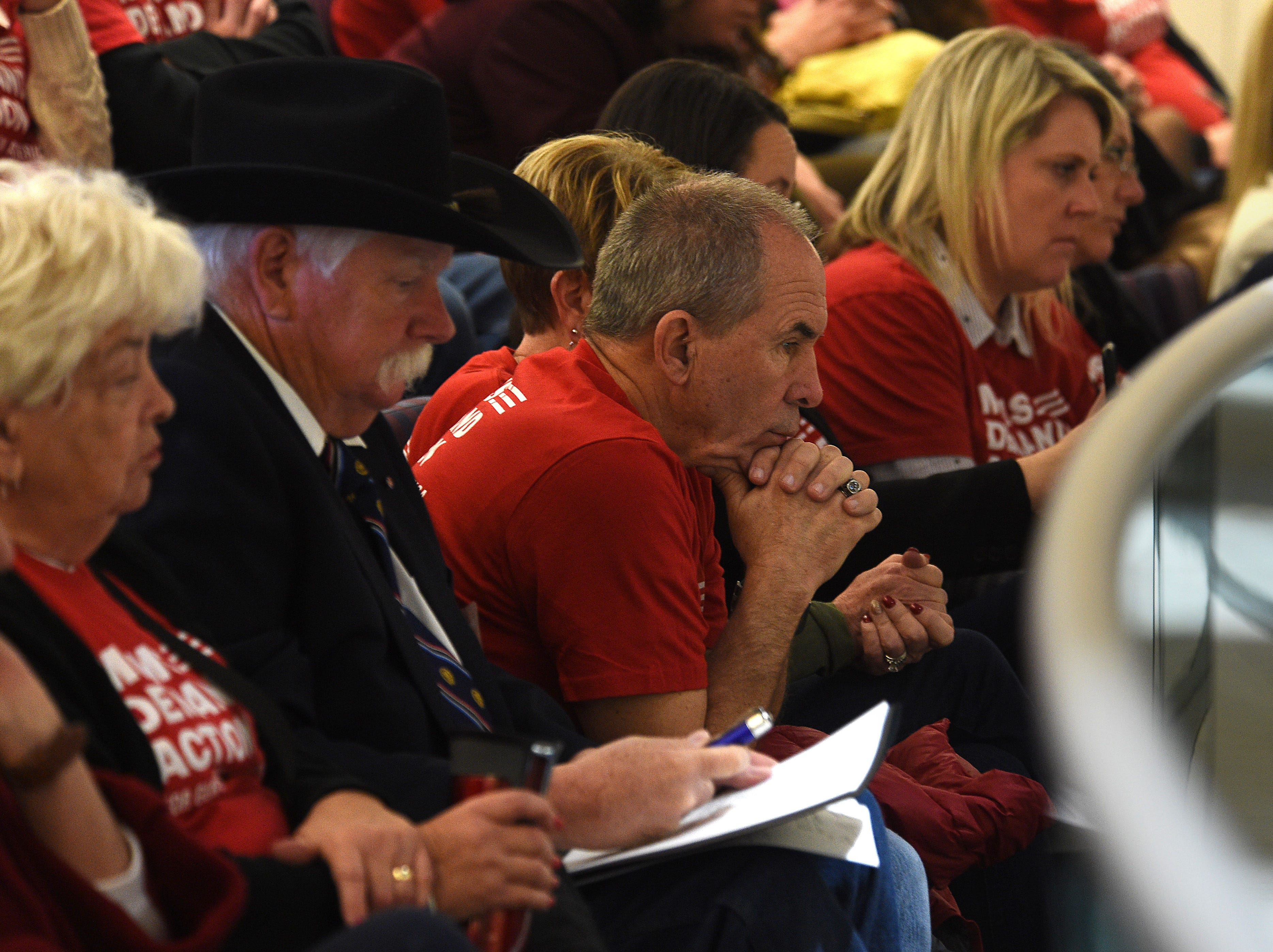 Members of a Nevada chapter of Moms Demand Action attend a hearing for Senate Bill 143 at the Nevada Legislature Building in Carson City on Feb. 12, 2019.
