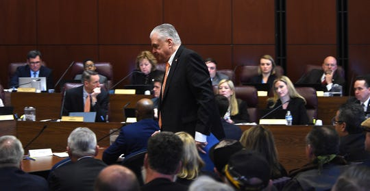 Governor Steve Sisolak prepares to testify during a hearing for Senate Bill 143 at the Nevada Legislature Building in Carson City on Feb. 12, 2019.