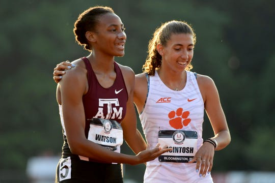 """Rush-Henrietta graduate Samantha """"Sammy"""" Watson of Texas A&M (left) is congratulated by Kamryn McIntosh of Clemson after winning the women's 800 meters in 2:01.46 during the USA Junior Championships at Indiana University in June. Watson, 19, is turning professional, ending her college career."""
