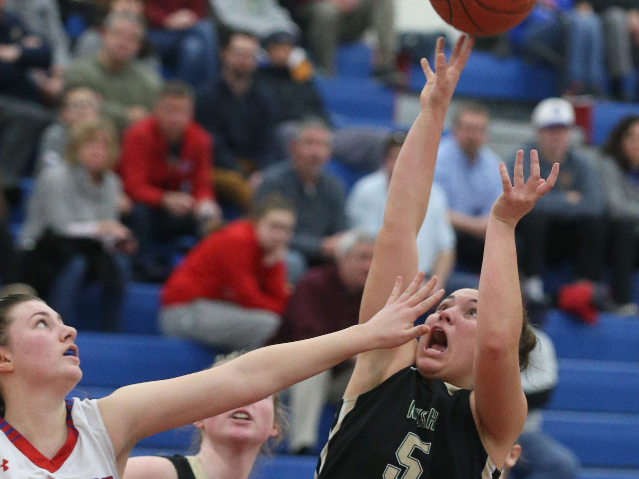 Rush-Henrietta's Kaila Herring, right, puts up a shot as Fairport's Kat Zimmerman defends.