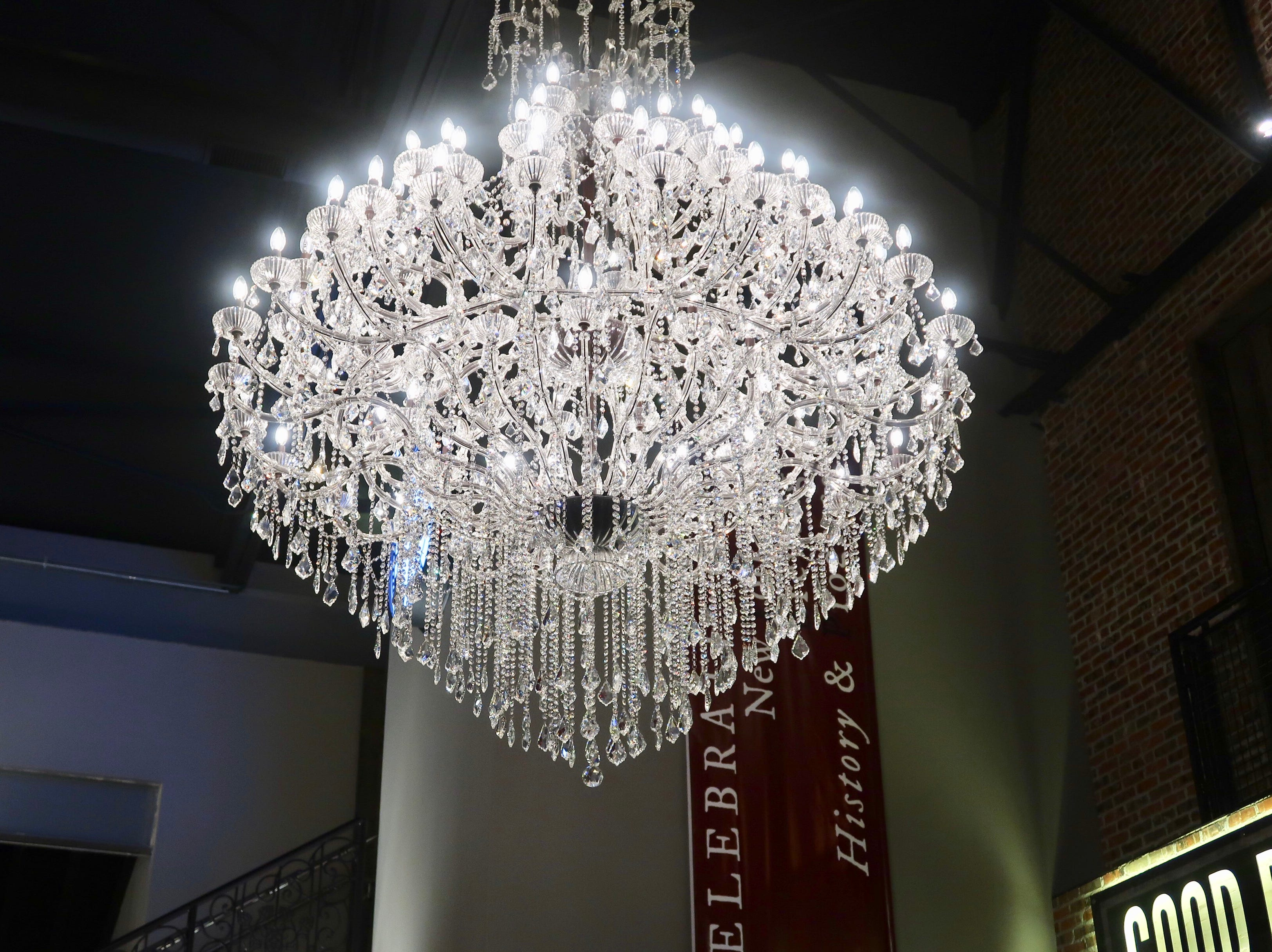 Massive chandeliers at the New York Beer Project in Victor.