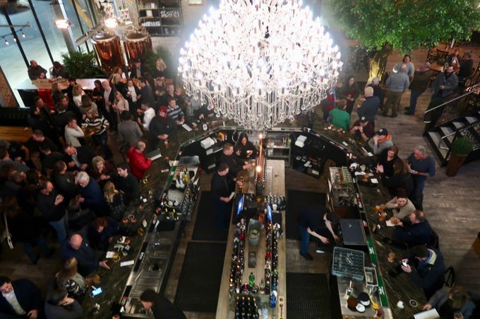 View from the second-floor mezzanine at the New York Beer Project in Victor,