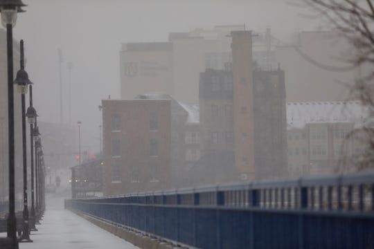 Snow falling on the Pont De Rennes Bridge on Febuary 12, 2019.