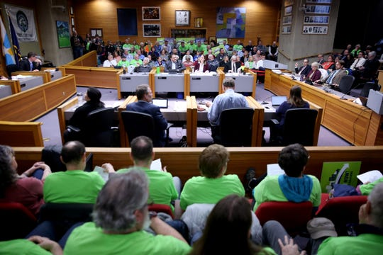 Hundreds pack the room during a Salem City Council meeting on Monday, Feb. 11, 2019. The council is expected to make a final decision Monday over whether to build the third bridge over the Willamette River.